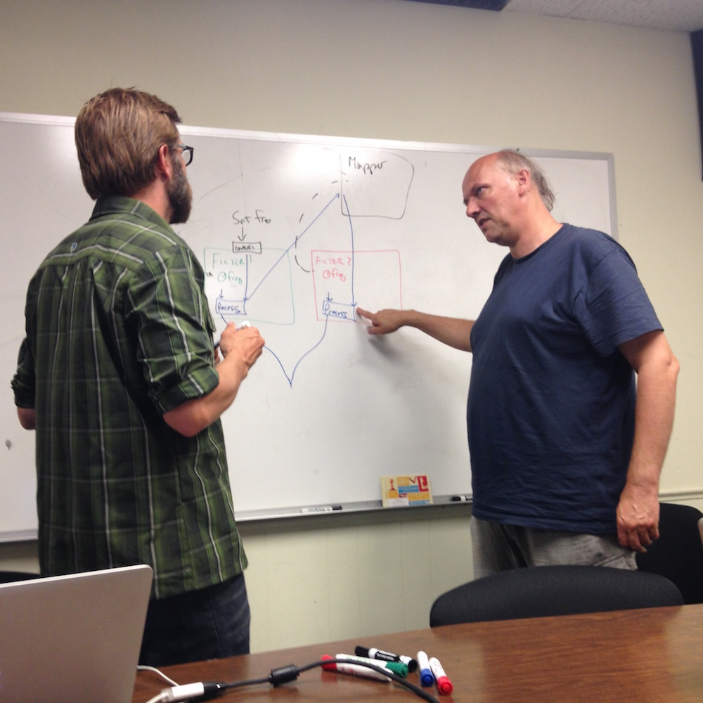 Tim and Trond discuss at the whiteboard.