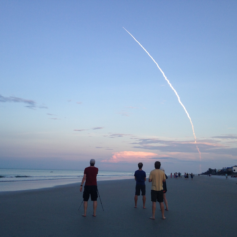 Watching a Delta rocket launch during a break at the beach.